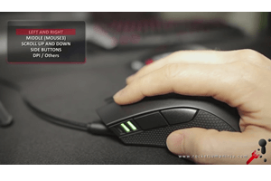 Large, ergonomic mouse with a 3360 optical sensor, Omron switches on the buttons, weighing about 111g, rubberized grips and a new way of doing RGB lights.